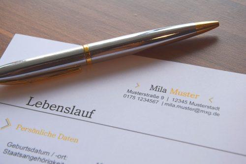 Ein Kugelschreiber liegt auf einem Blatt mit dem Titel